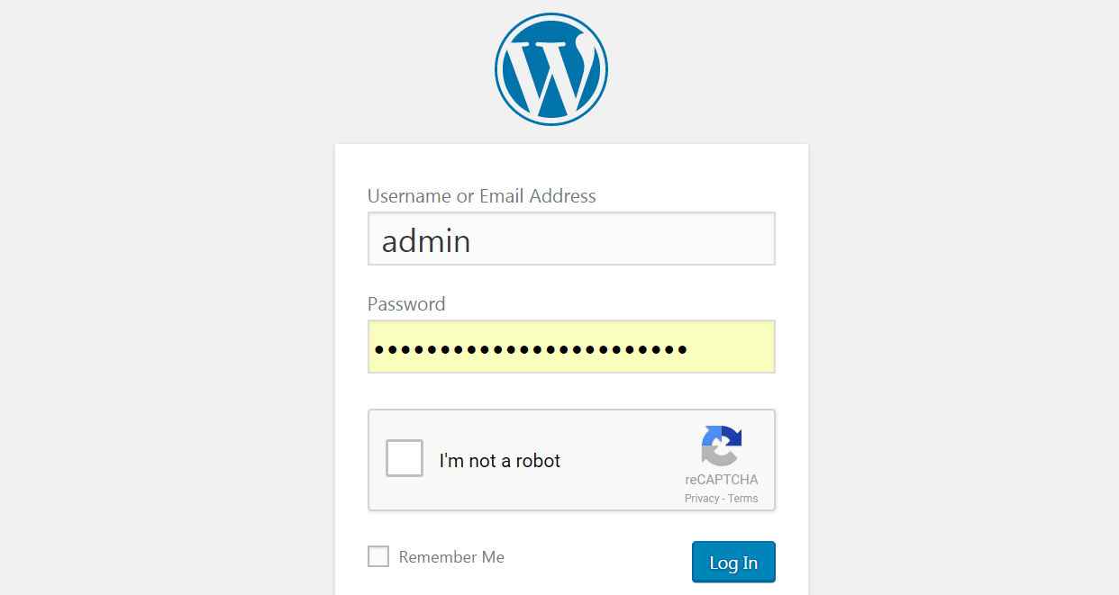 A WordPress CAPTCHA on a login page.