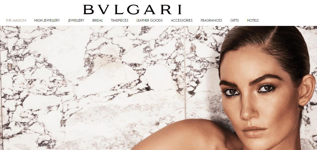 The Bvlgari homepage.