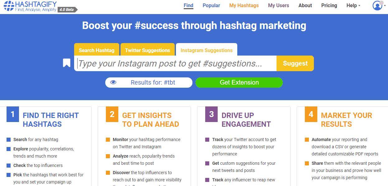 Instagram hashtags –Hashtagify