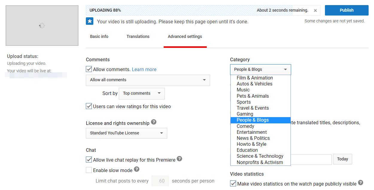 Social Media SEO: Selecting a YouTube video category.