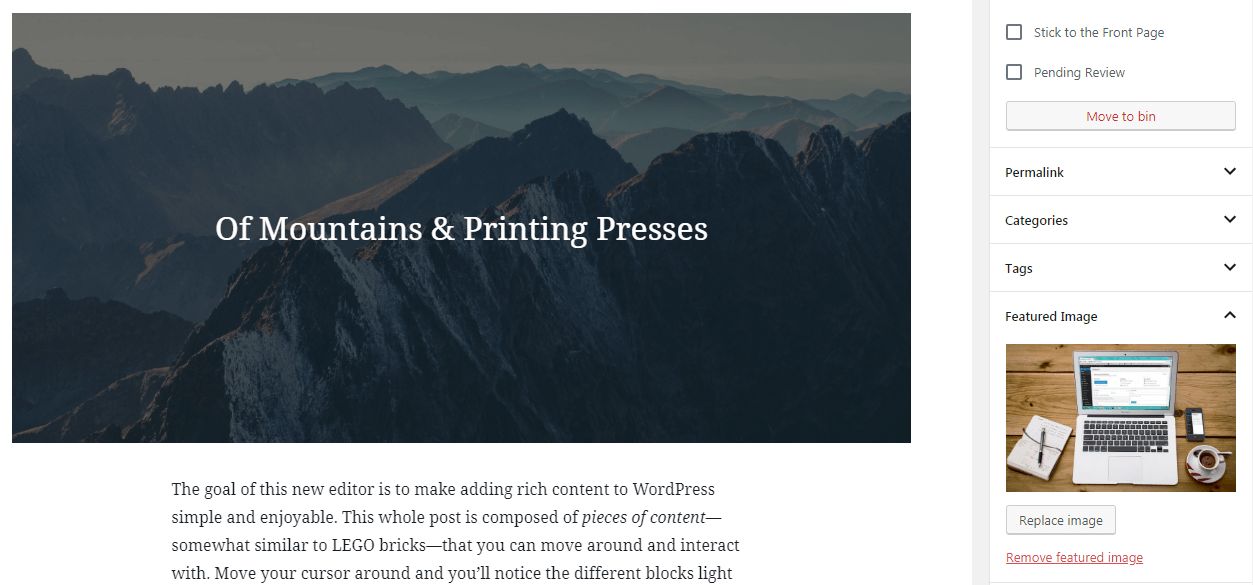 The WordPress Featured Image section with a thumbnail image.