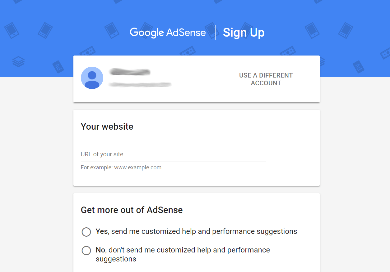 The sign-up form for Google AdSense.