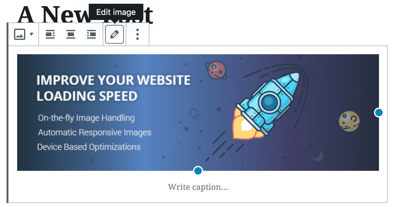 The 'Edit image' button in WordPress.