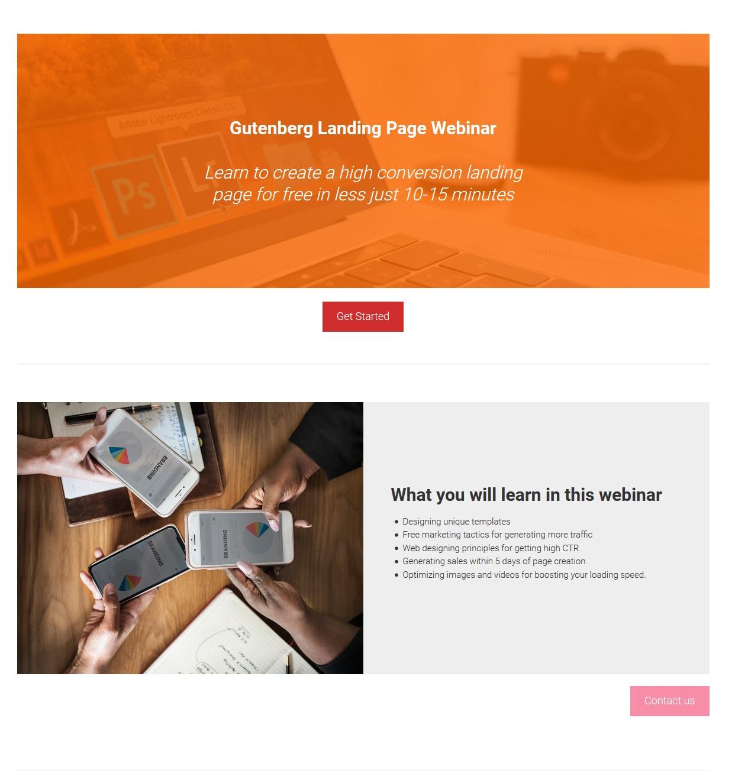 Final Landing Page Using the New Block Editor in WordPress