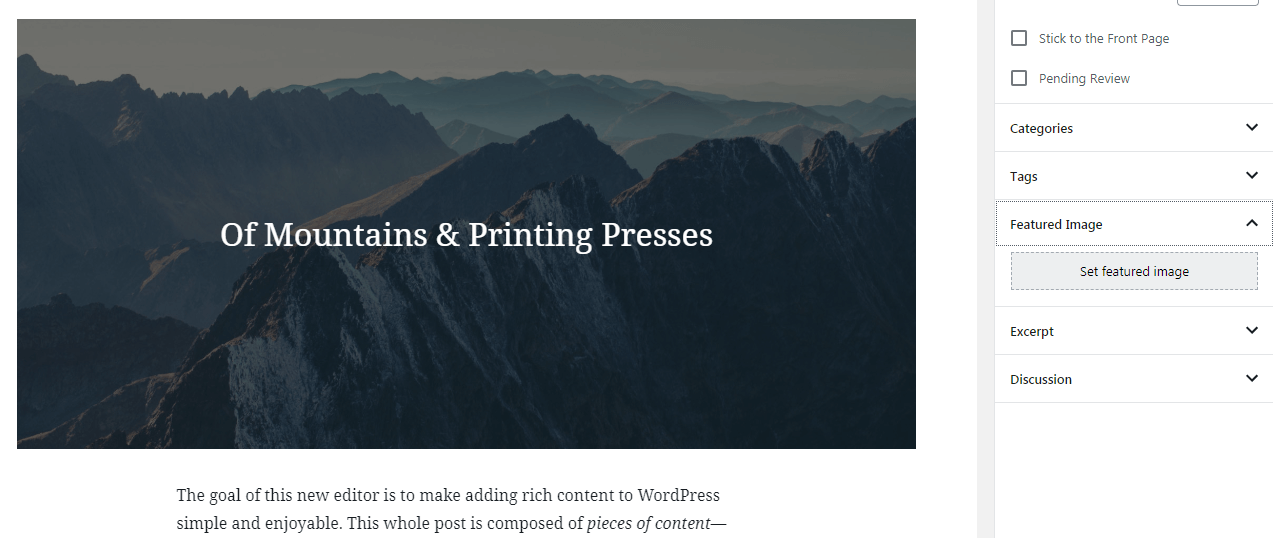 The WordPress Featured Image section.