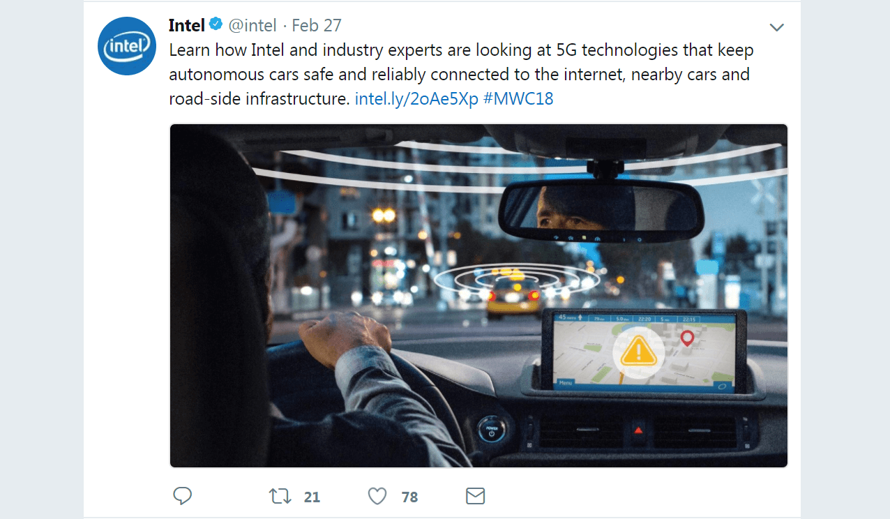 Social Media Brand Voice - A post on the Intel Twitter account.