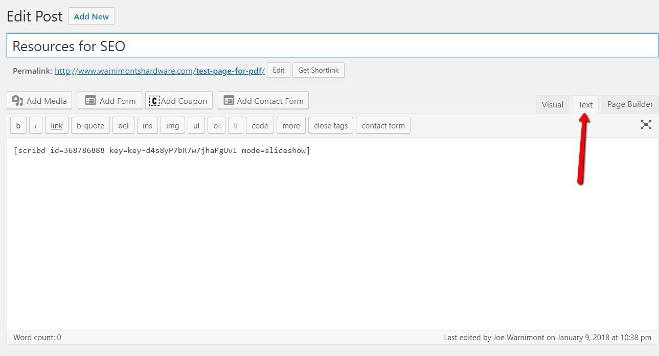 paste the code in WordPress