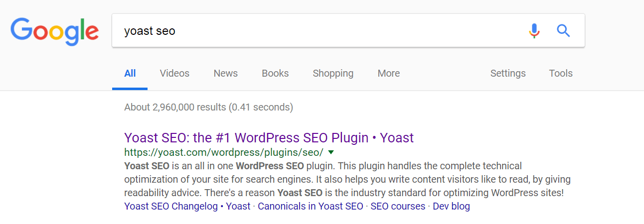 An example of a search result in Google.