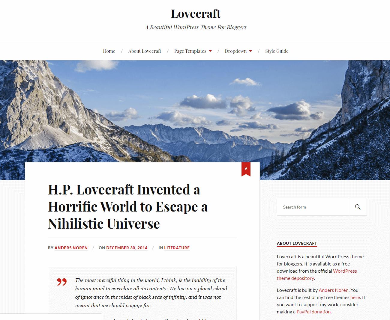 A desktop website built using Lovecraft.