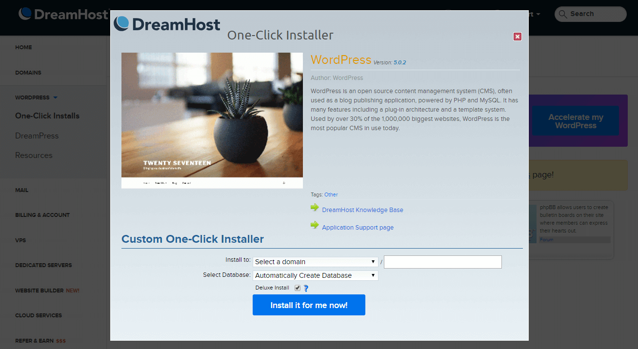 An example of a one-click WordPress installation option.