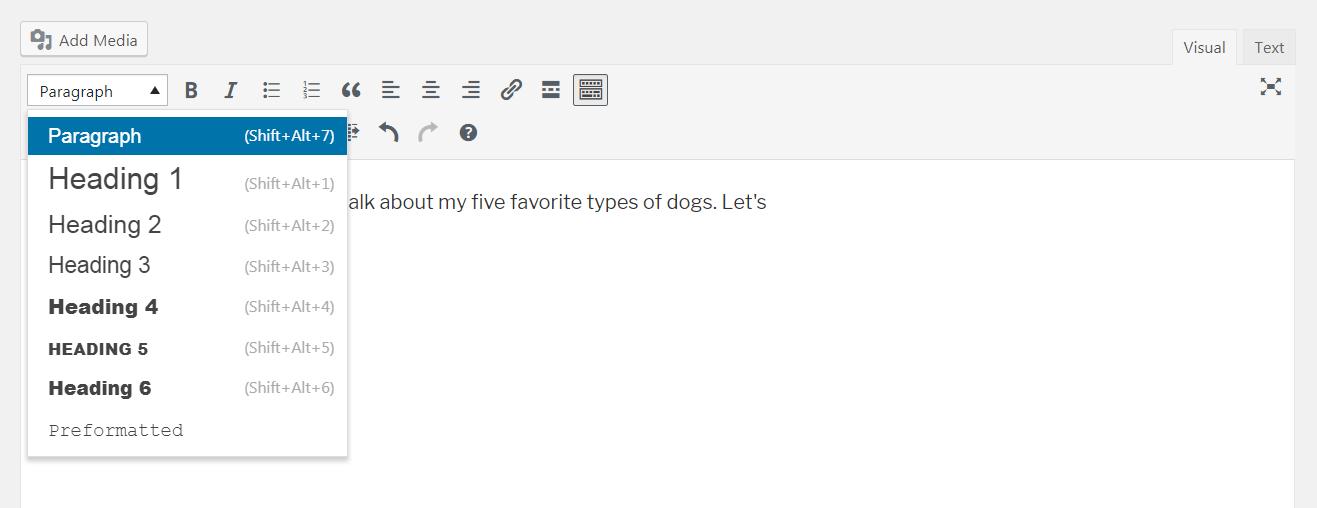 Adding headings in WordPress.