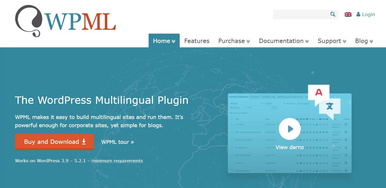 The WPML WordPress translation plugin homepage