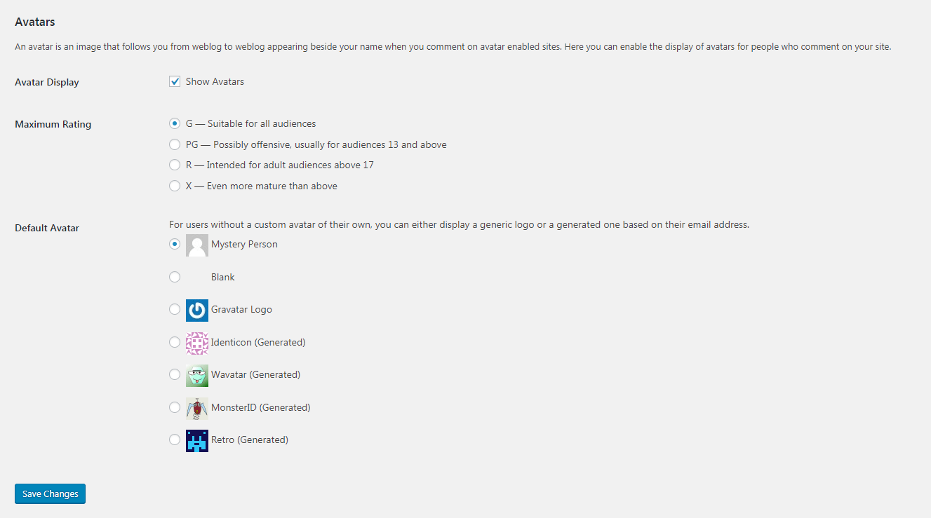 The Discussion settings screen, part 3.