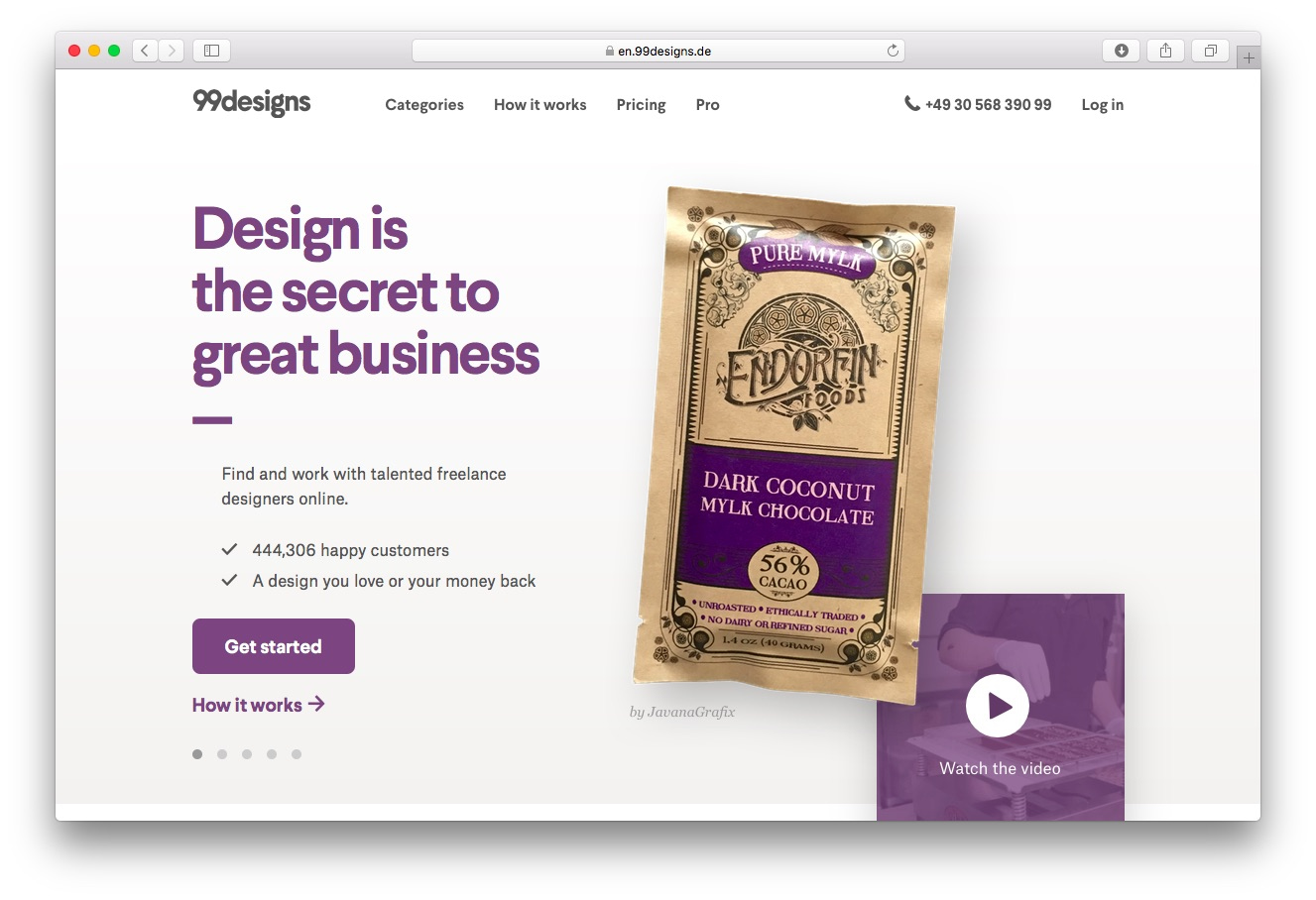The 99designs homepage, where you can get a logo designed