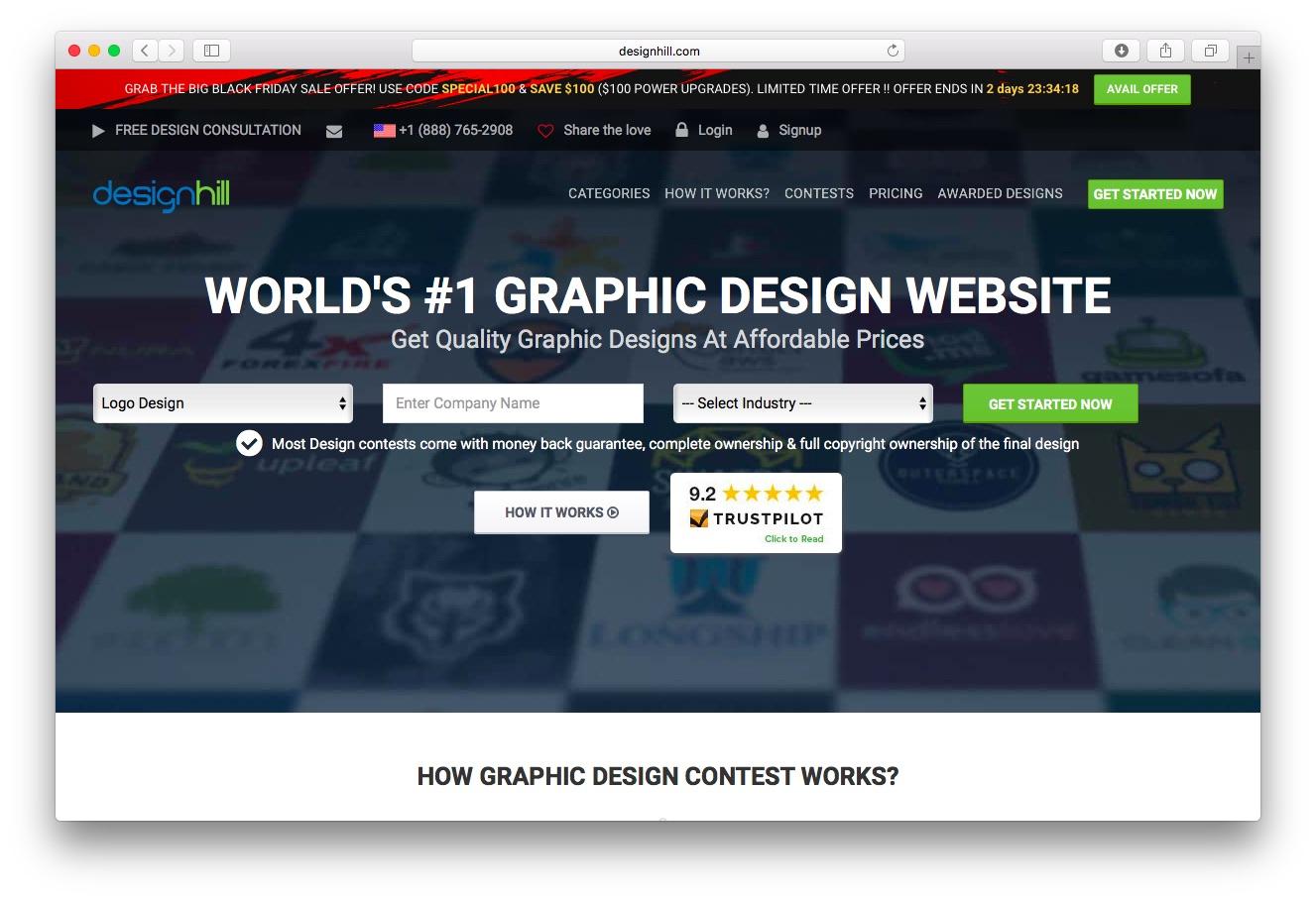 The Designhill homepage