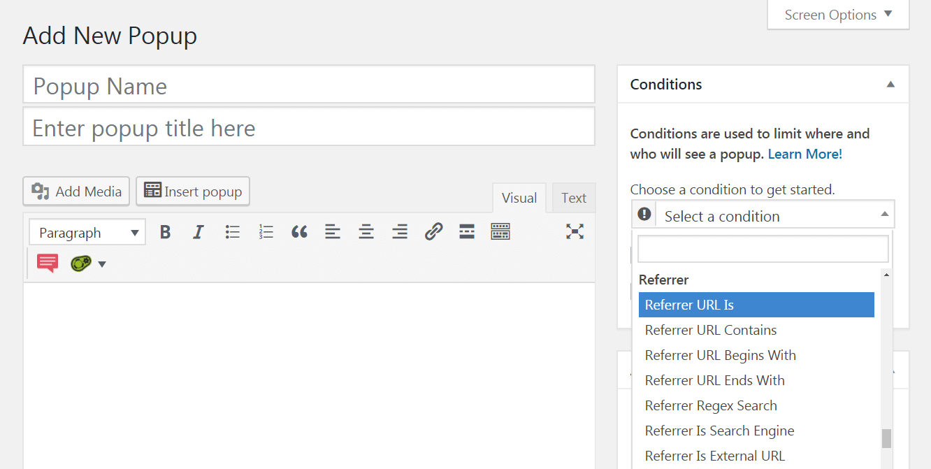 The Popup Maker plugin's advanced conditions.