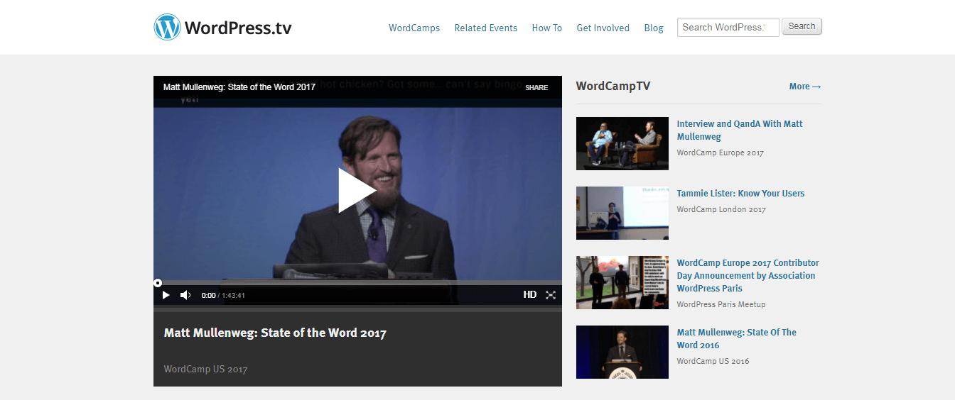 The WordPress.tv website.