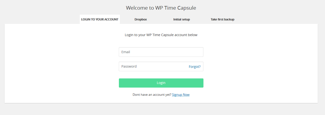 WPTimeCapsule signup page