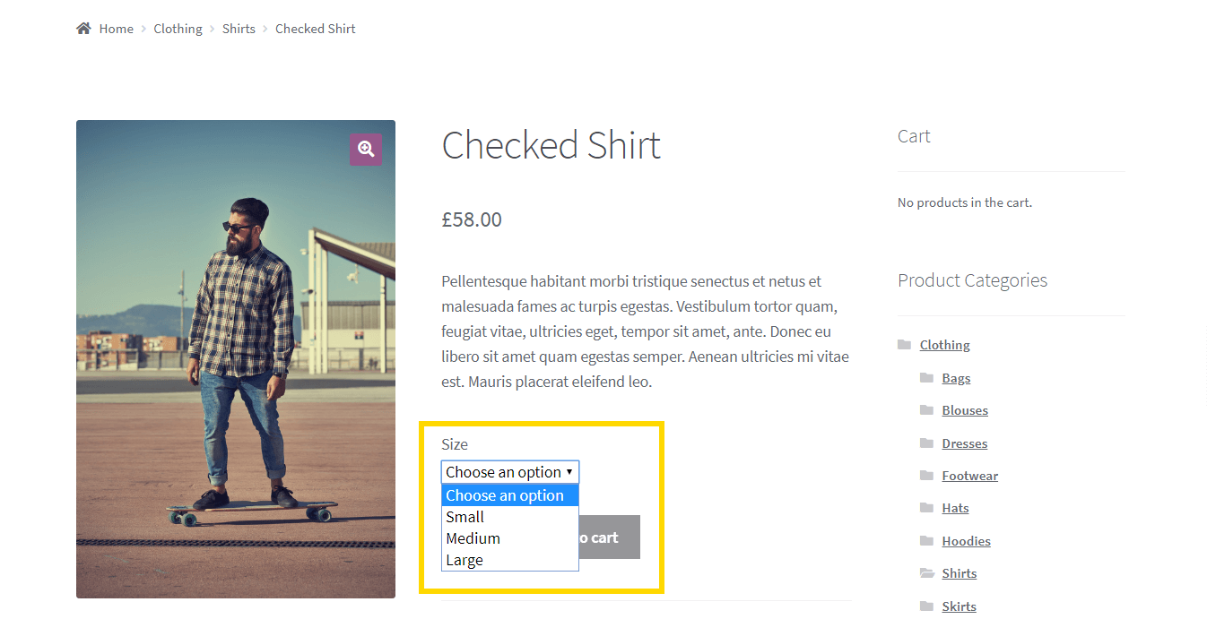 An example of WooCommerce variations.
