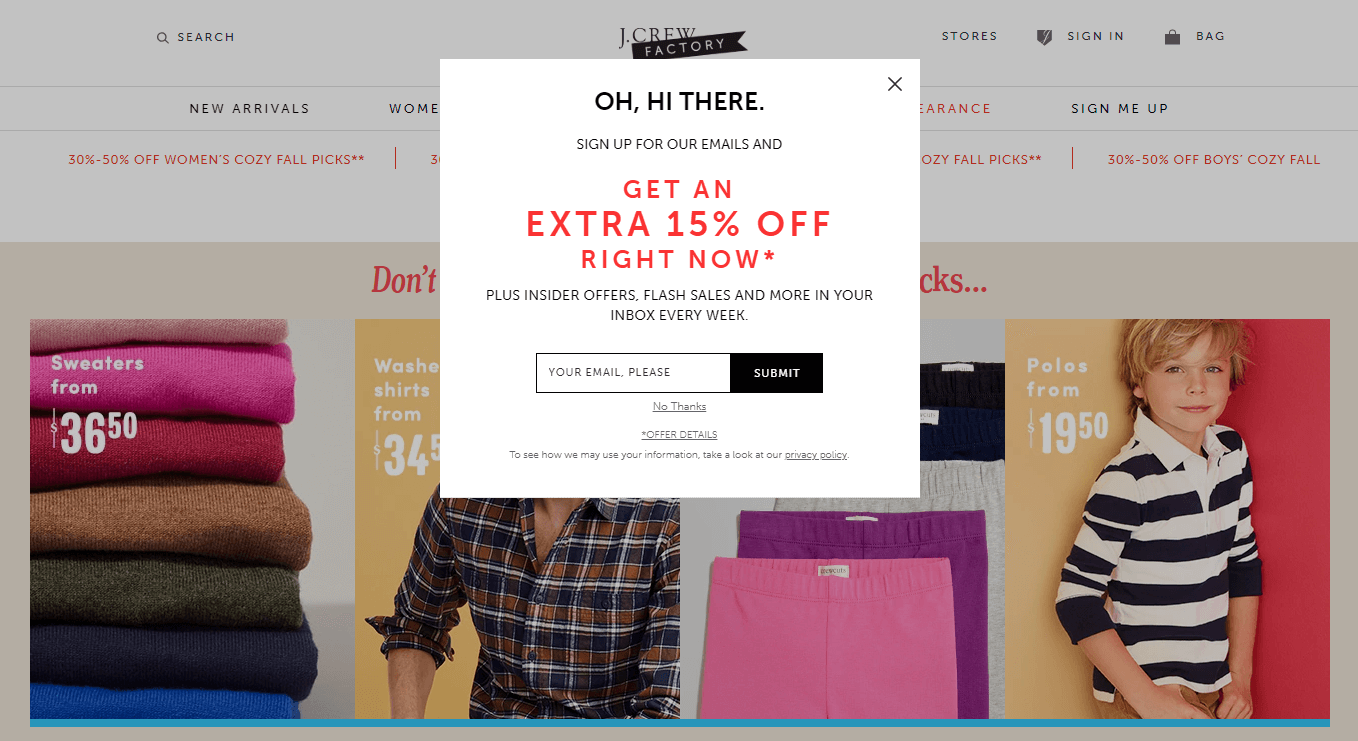 An example of an email opt-in form.