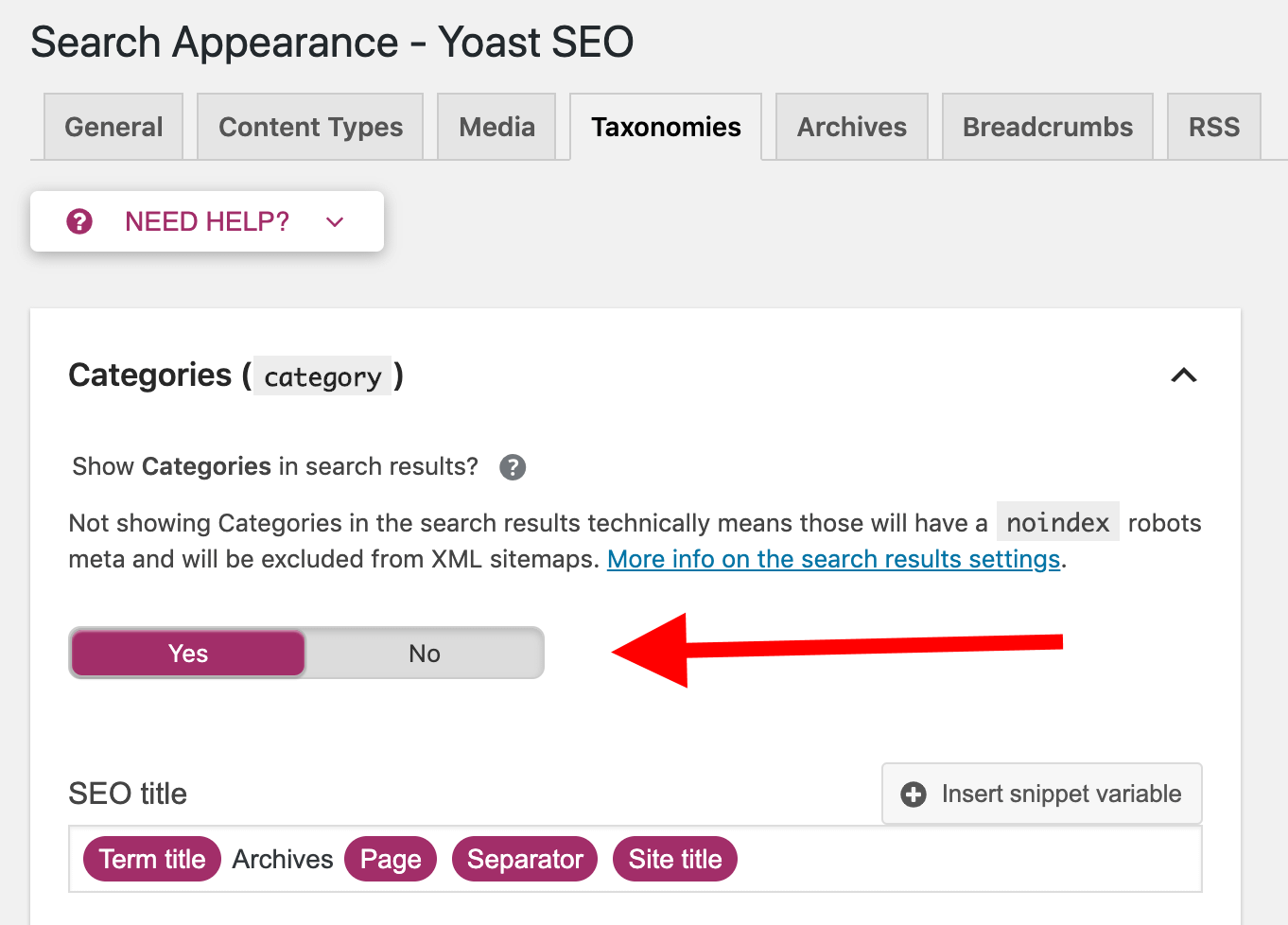 yoast categories