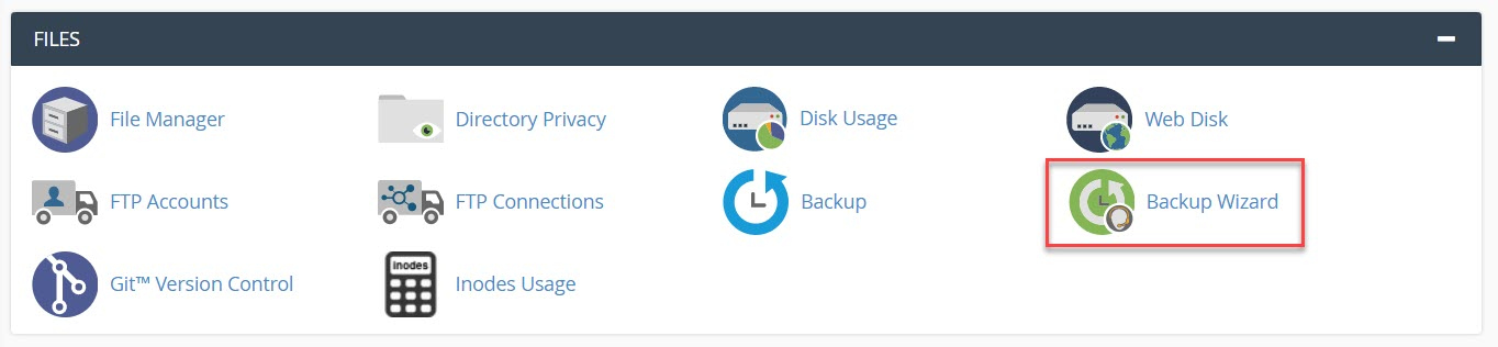How to access backup wizard in cpanel