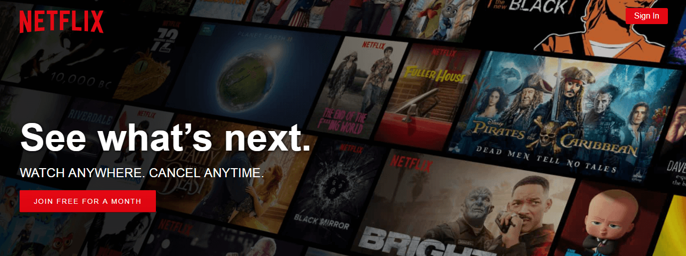 The Netflix home page.