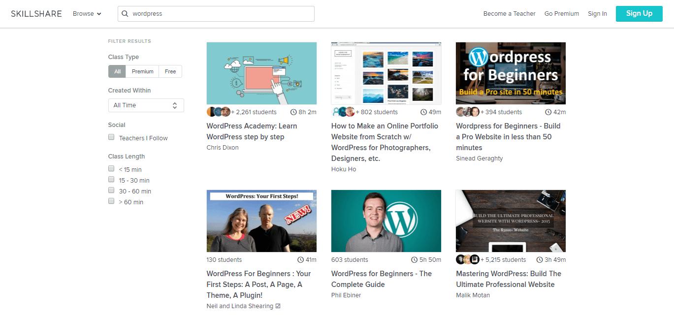The Skillshare website.