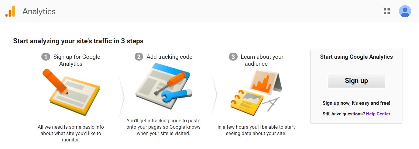 The Google Analytics website.