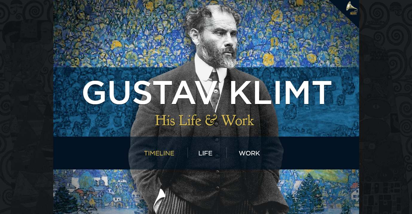The website for Gustav Klimt.