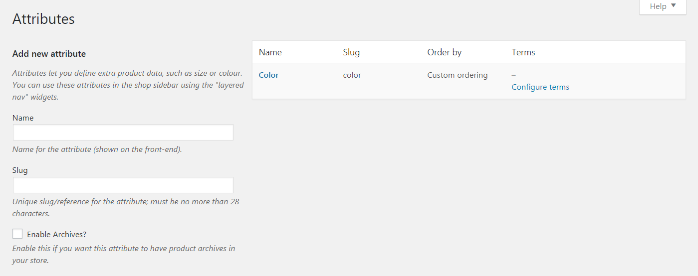 Adding a new WooCommerce attribute.