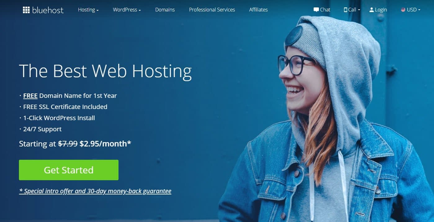 Buy hosting and a domain name with Bluehost
