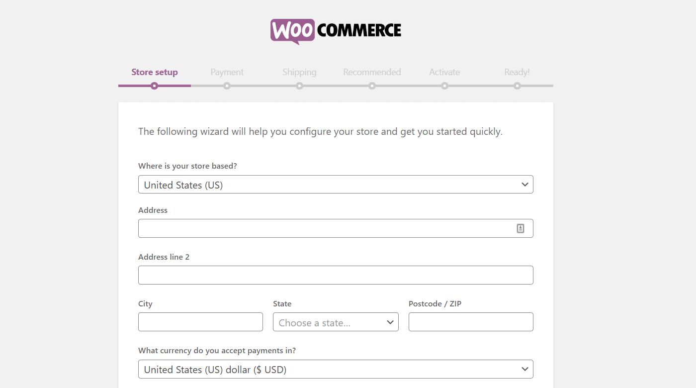 L'assistant de configuration de WooCommerce.