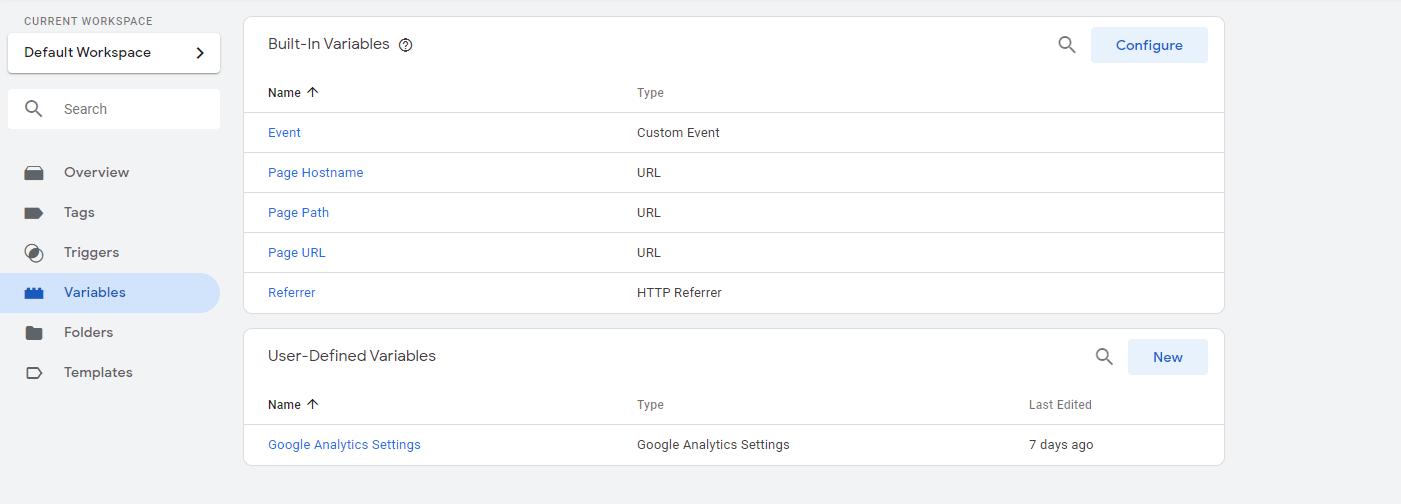 Variables définies par l'utilisateur du Tag Manager.