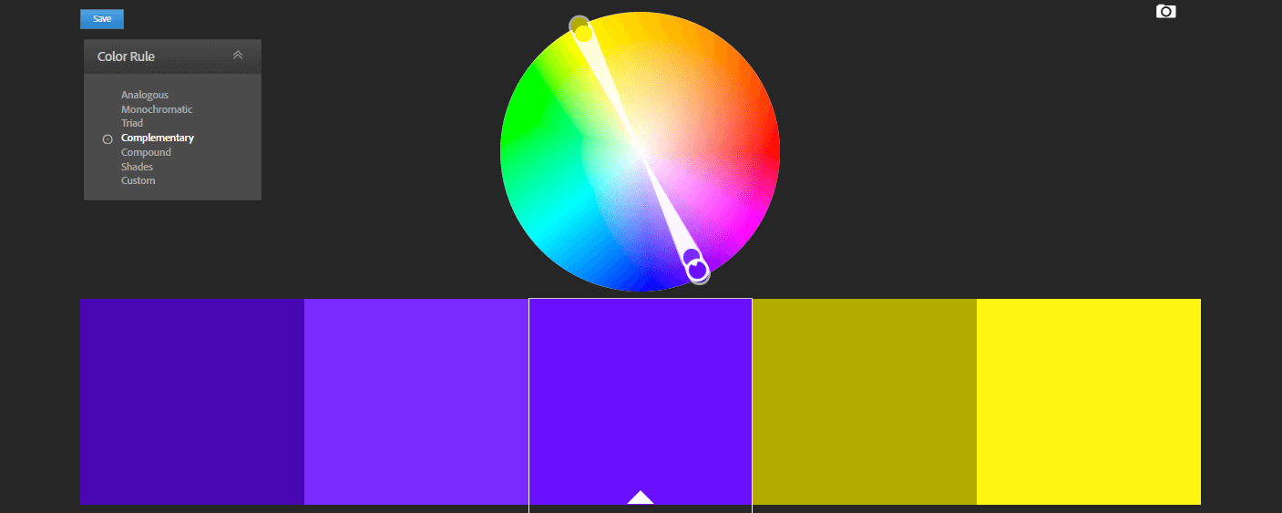 An example of a complementary color scheme.