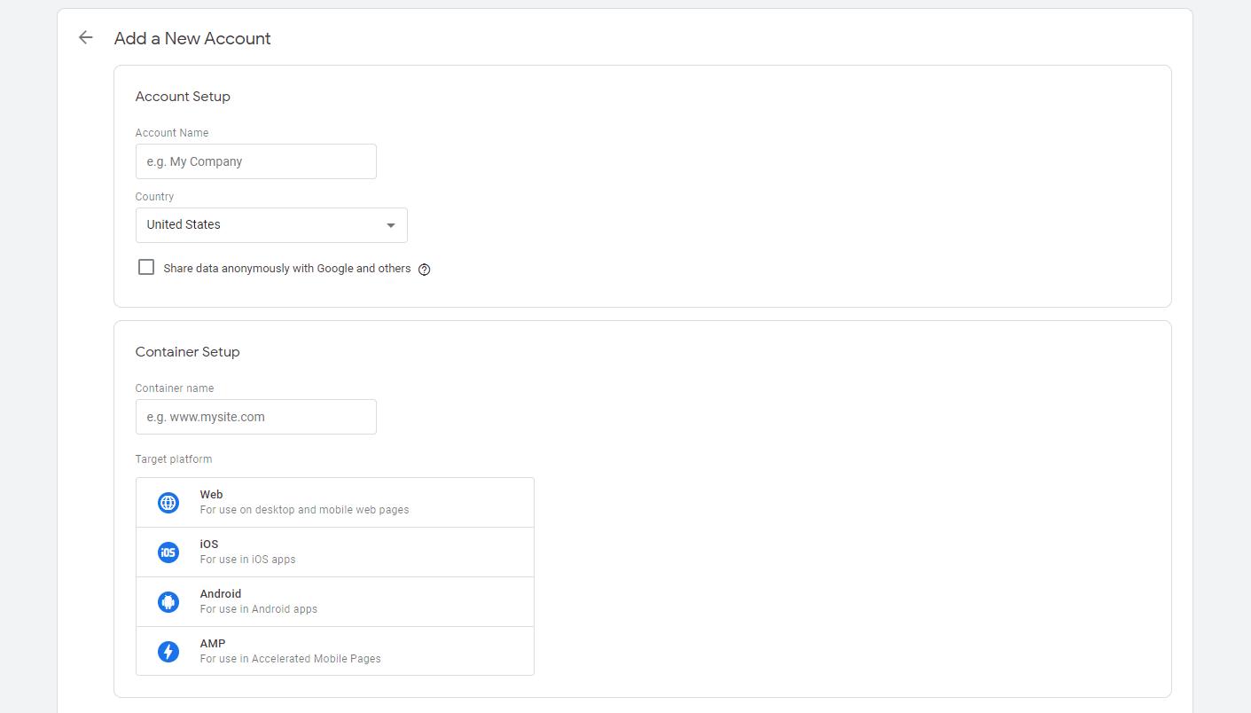 Création d'un nouveau compte Tag Manager.