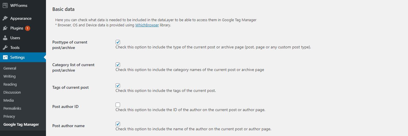 Configuration du gestionnaire de balises pour le plugin WordPress.