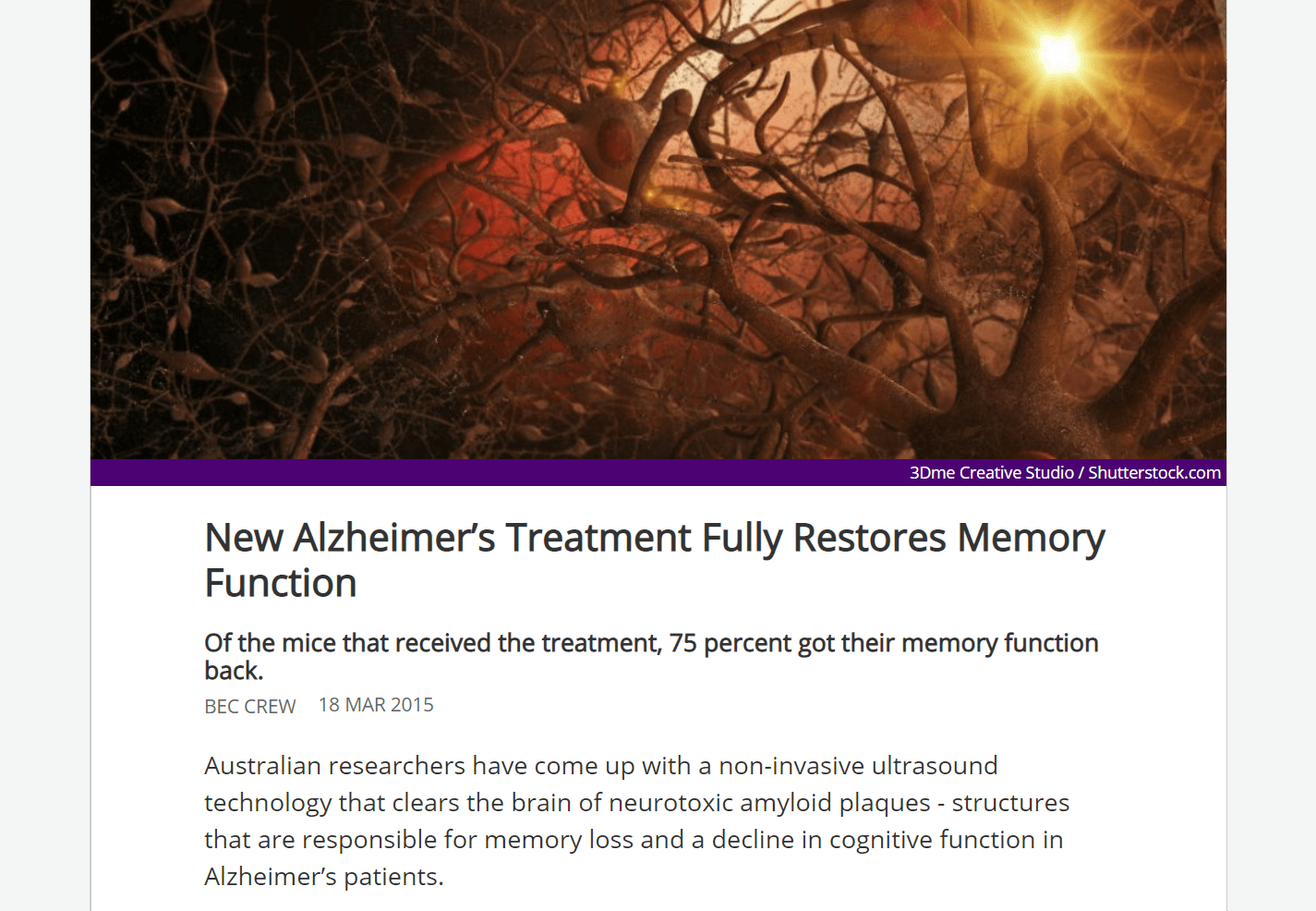 A viral post about research on Alzheimer's.