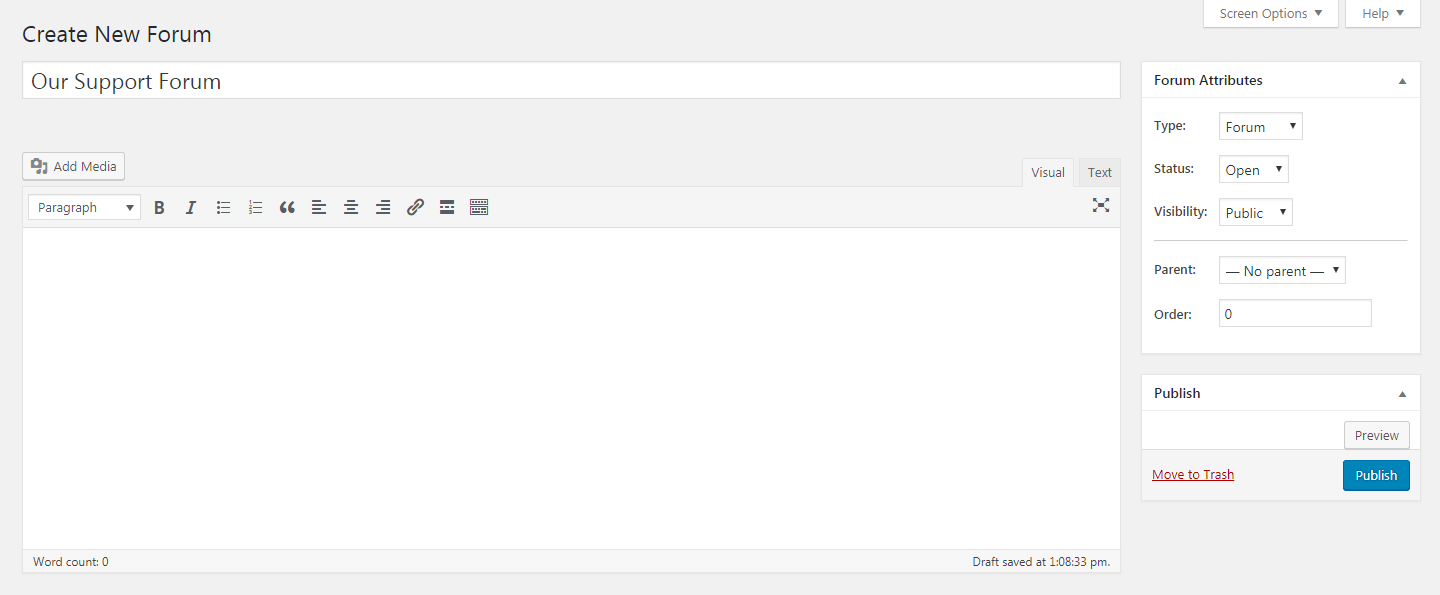 Creating a new forum in bbPress.