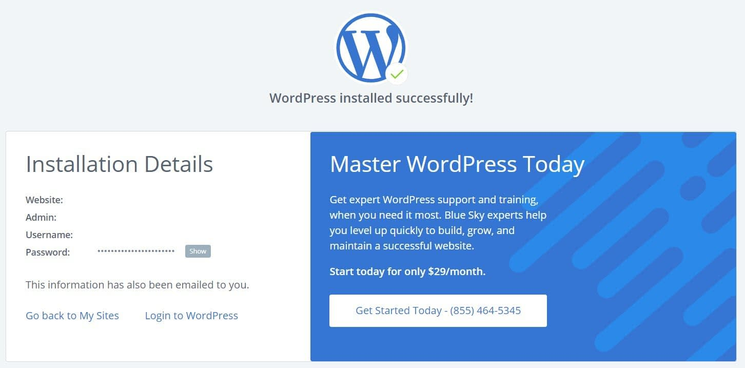 The WordPress install details on Bluehost
