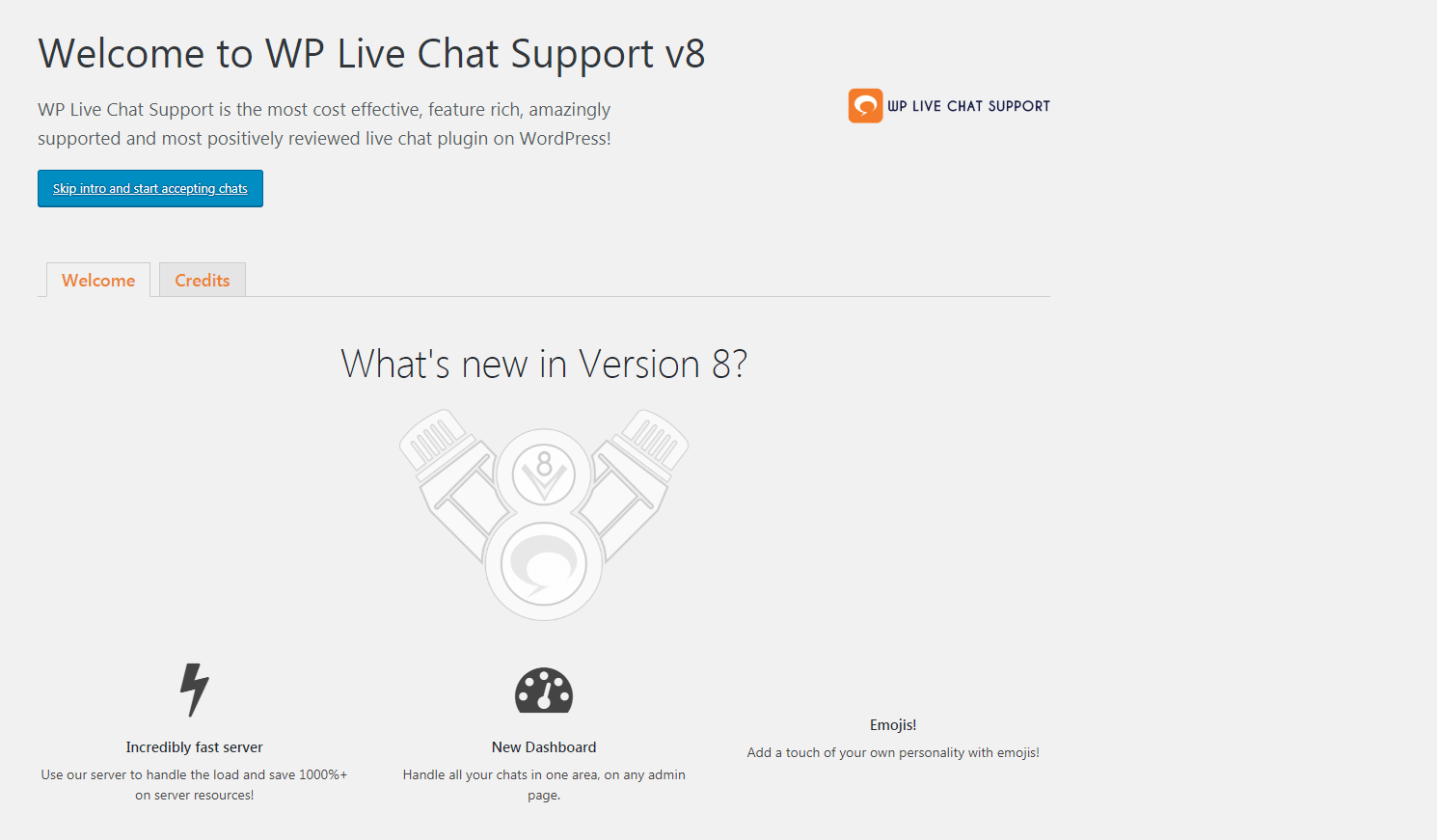 The WP Live Chat Support settings.