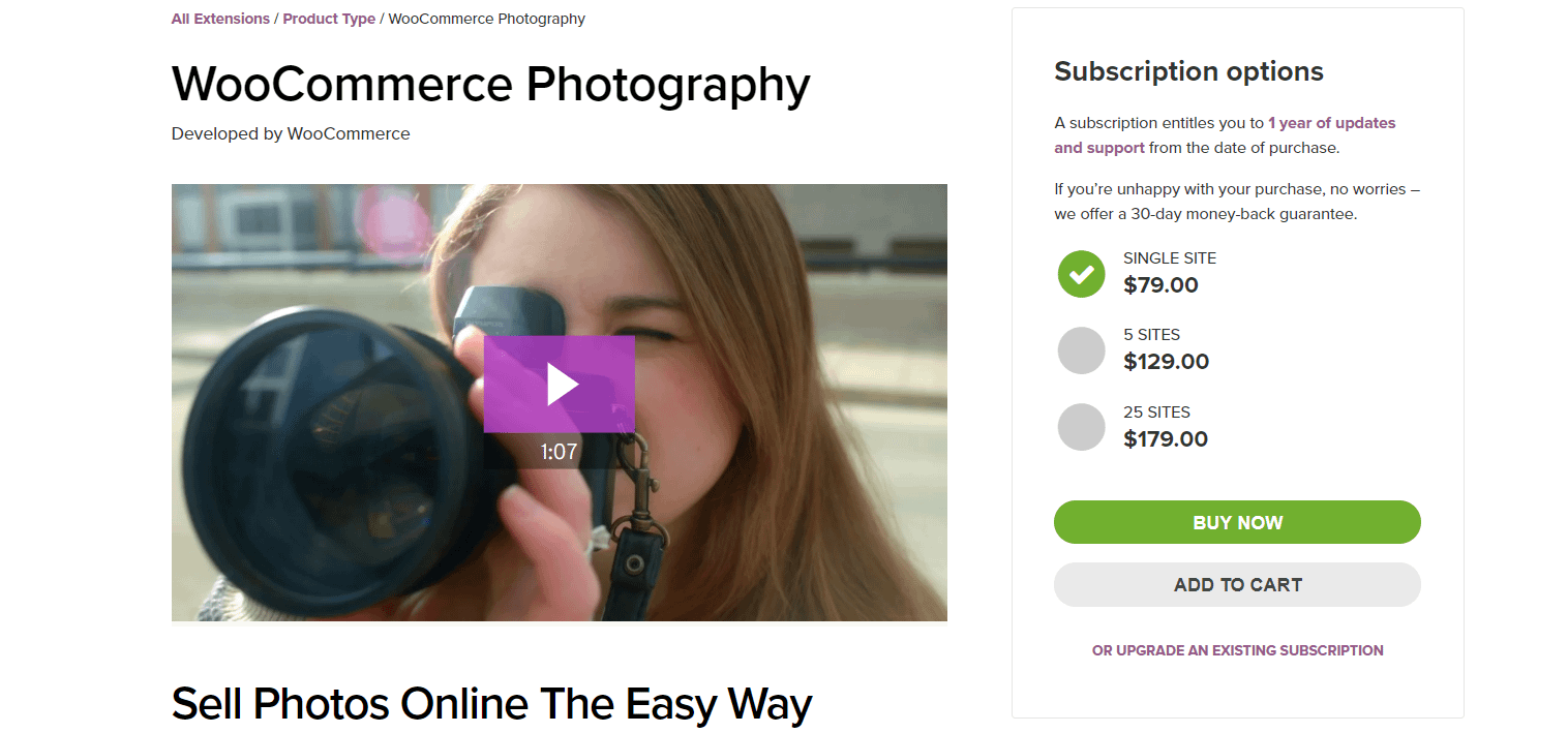 WooCommerce Photography is one of the plugins that helps you sell photos on your store