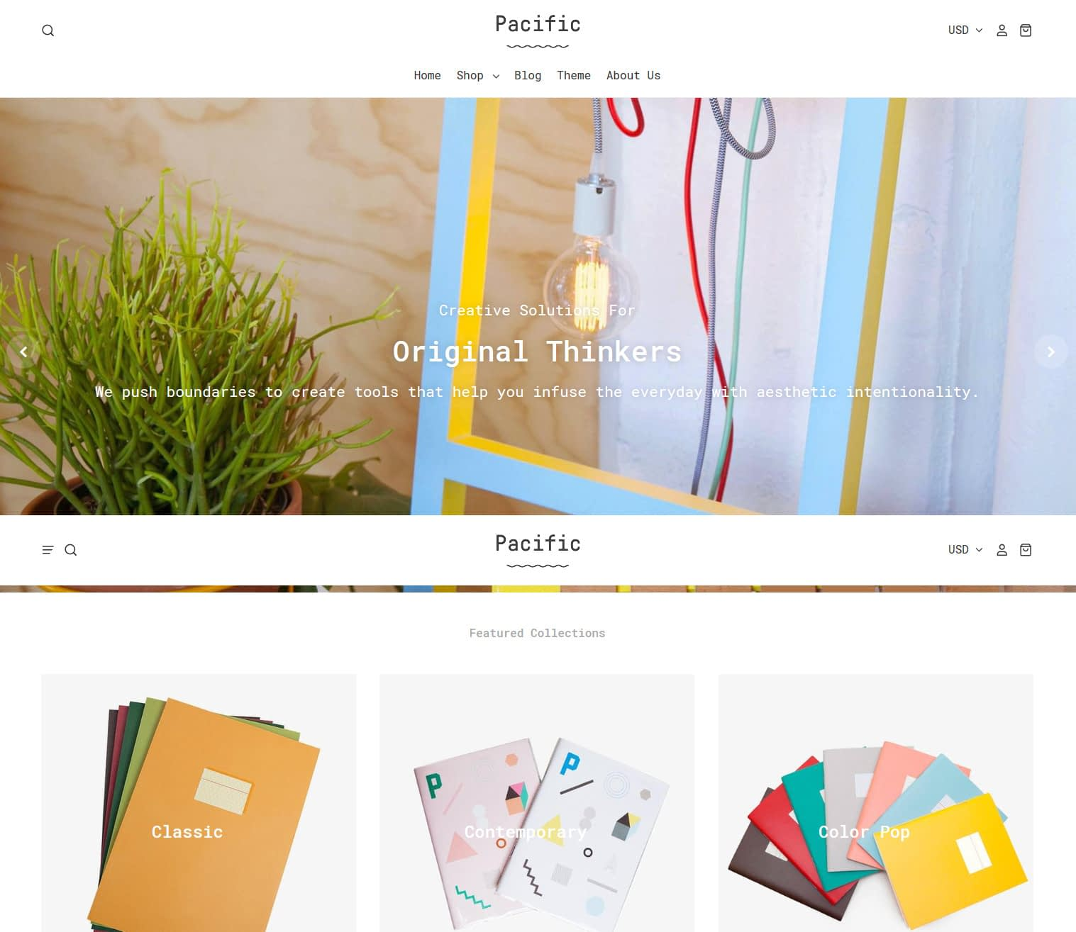 pacific theme for Shopify