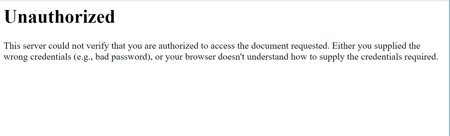 One example of the 401 error code