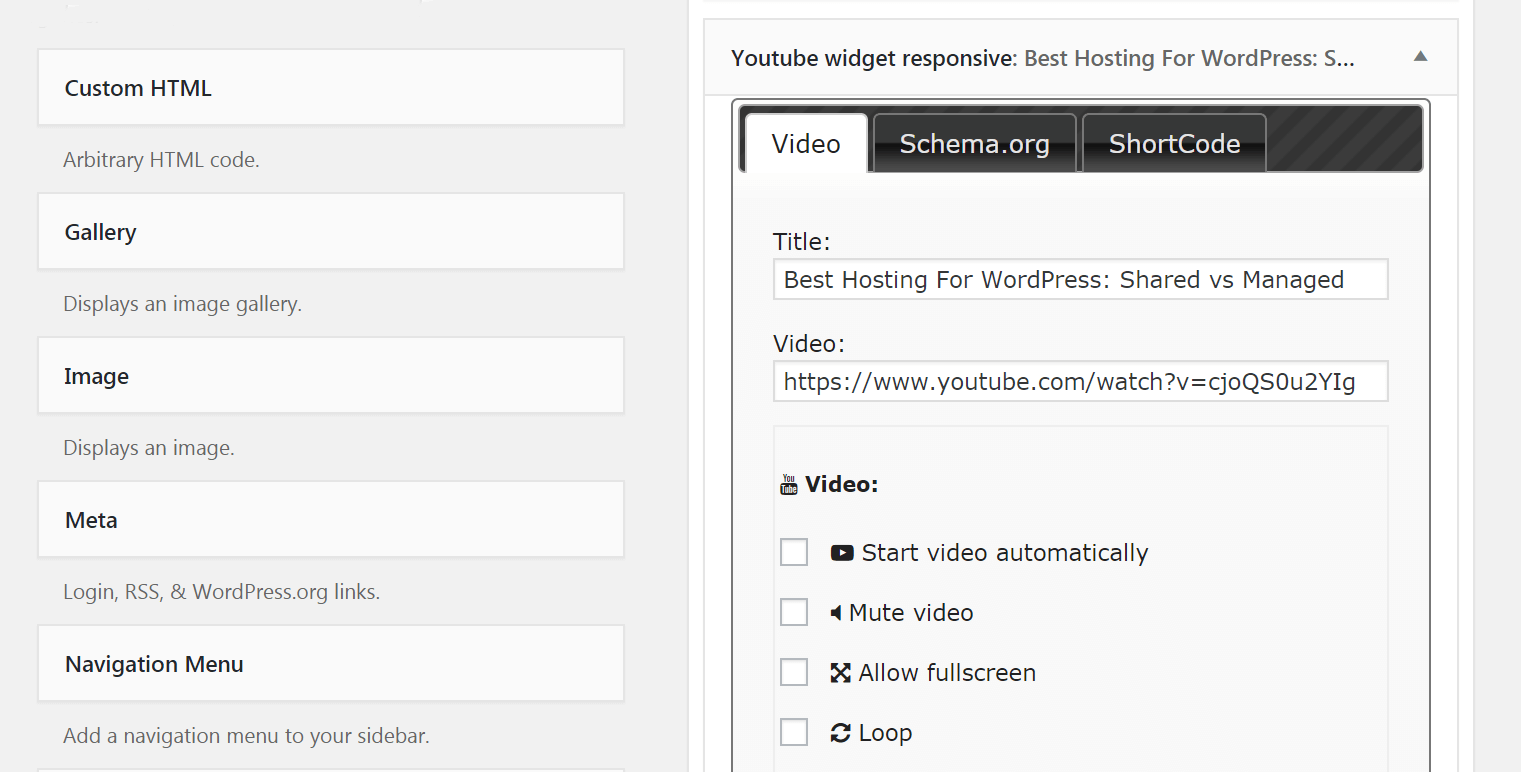 The settings for your YouTube widget.