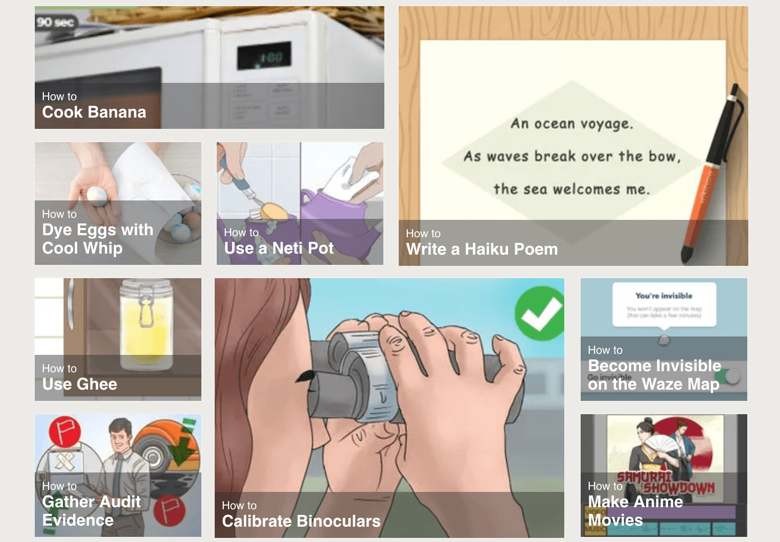 Examples of post titles from the wikiHow Main Page.