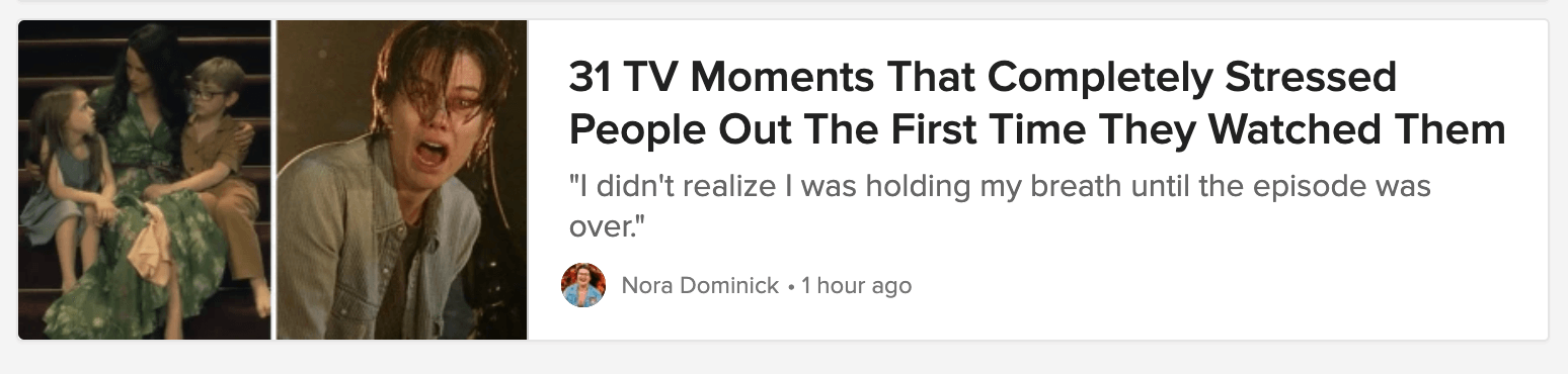 An article headline from Buzzfeed about stressful television scenes.
