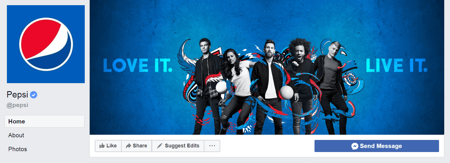 Social Media Branding Strategy: Pepsi branding imagery on Facebook.