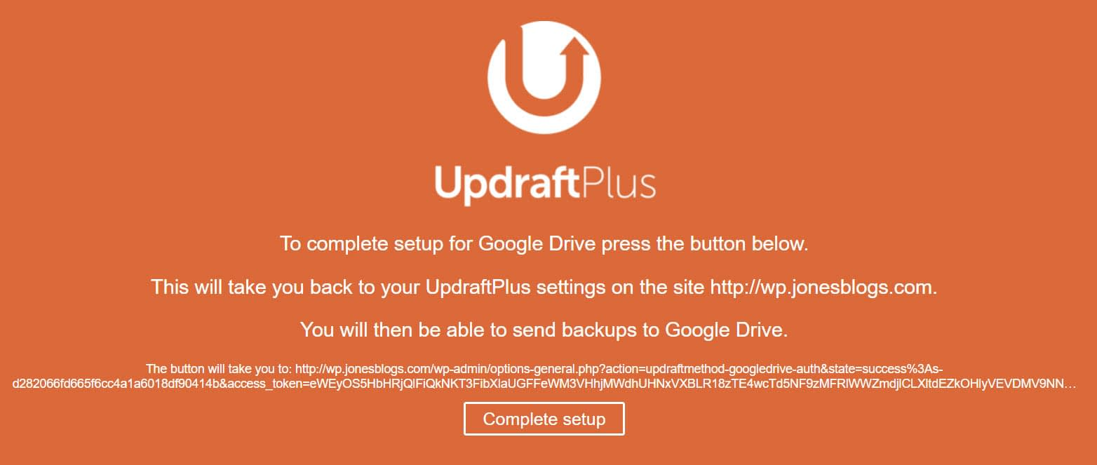 Google Drive and UpdraftPlus Connect