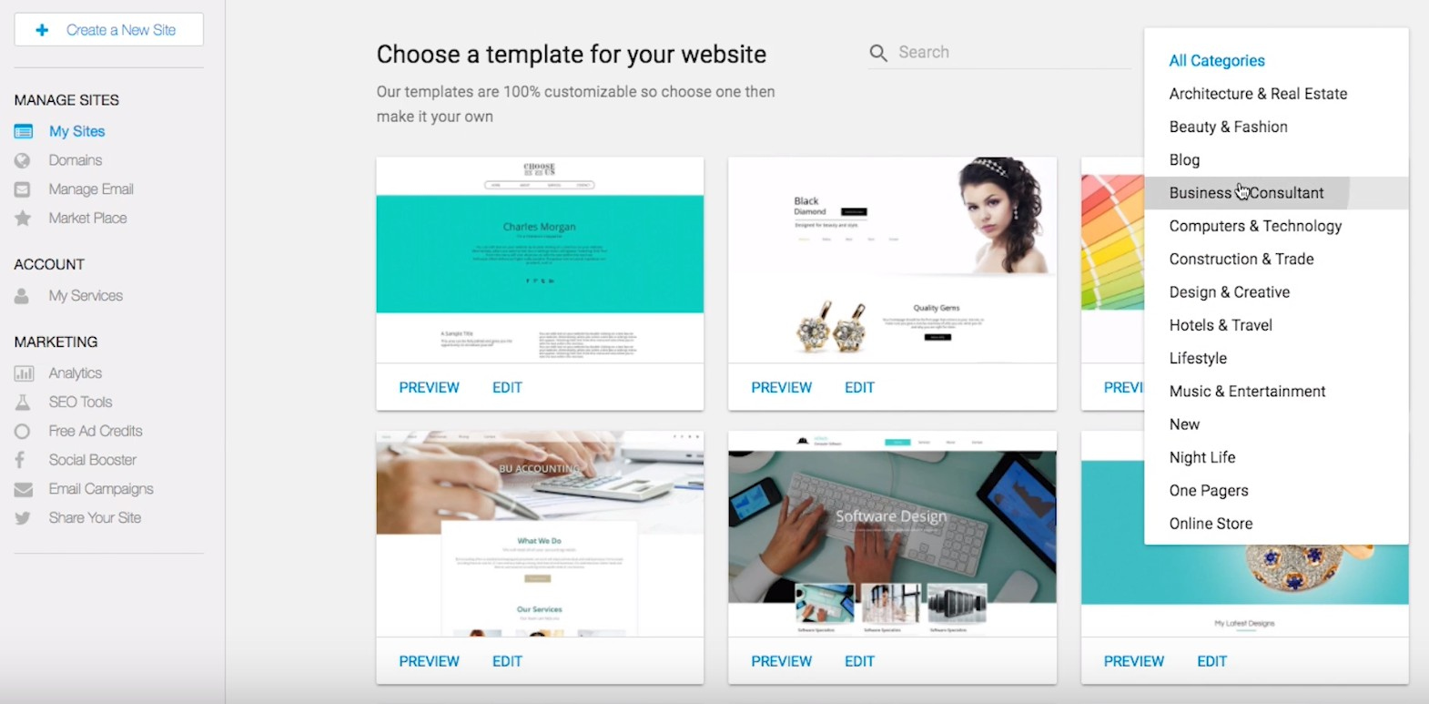 SiteBuilder templates